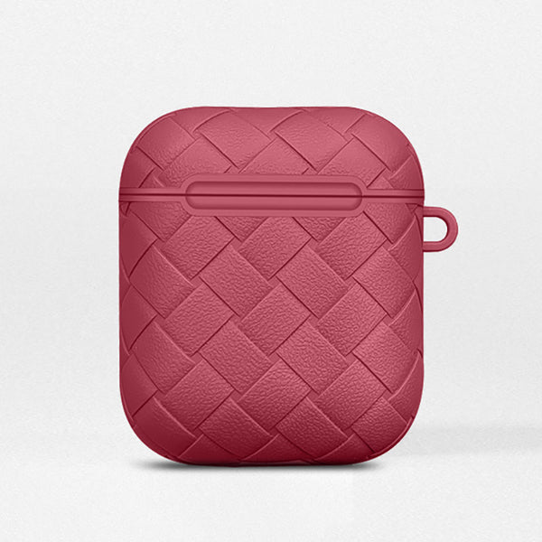 Red Leather Weave AirPods Case