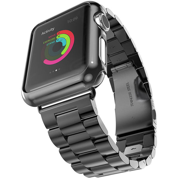Black Brushed Stainless Steel Apple Watch Bracelet Strap