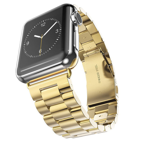 Gold Brushed Stainless Steel Apple Watch Bracelet Strap