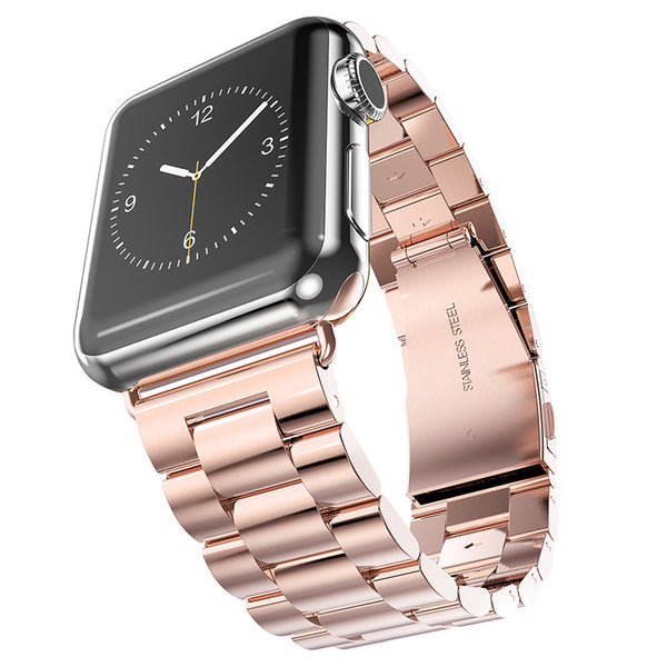 Rose Gold Brushed Stainless Steel Apple Watch Bracelet Strap