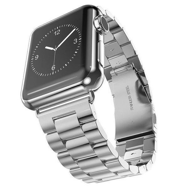 Silver Brushed Stainless Steel Apple Watch Bracelet Strap