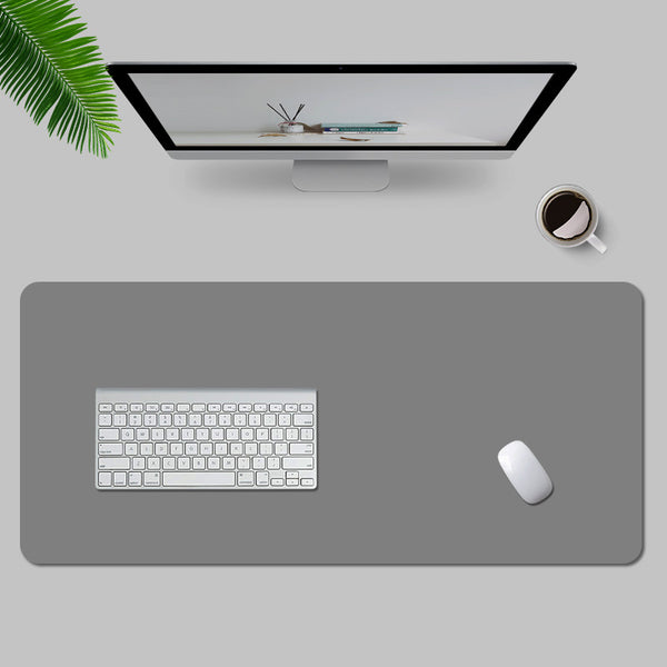 Grey Leather Desk Pad