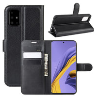 Black Leather Wallet Case (Galaxy A51)