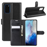 Black Leather Wallet Case (Galaxy S20+)