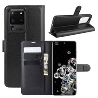 Black Leather Wallet Case (Galaxy S20 Ultra)
