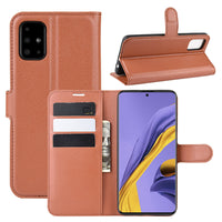 Brown Leather Wallet Case (Galaxy A51)