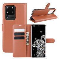 Brown Leather Wallet Case (Galaxy S20 Ultra)