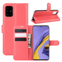 Red Leather Wallet Case (Galaxy A51)