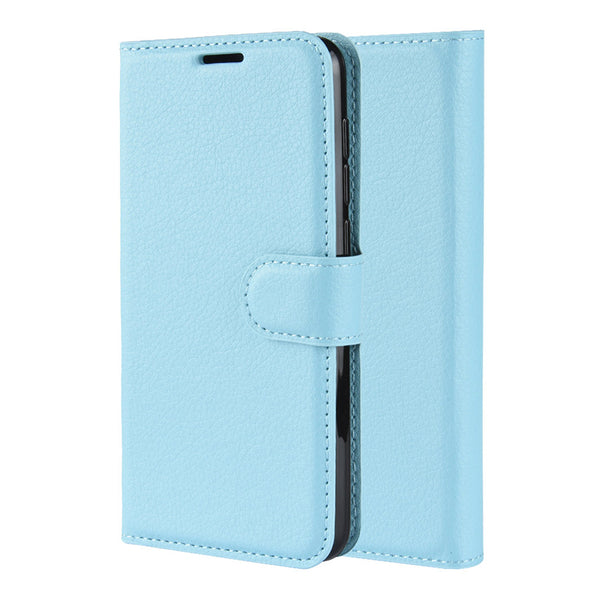 Light Blue Leather Wallet Case (Galaxy A71)