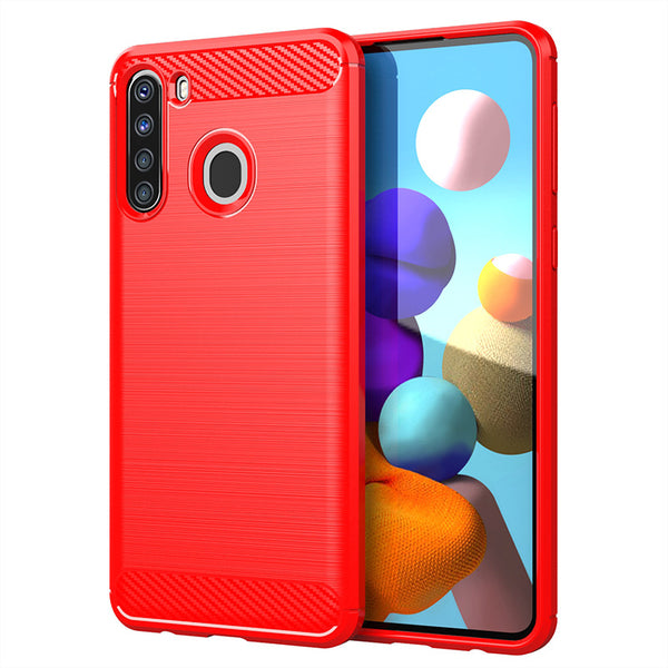 Red Brushed Metal Case (Galaxy A21)