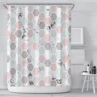 Marble Hexagons Shower Curtain