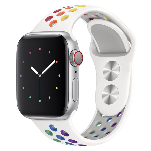Rainbow White Apple Watch Strap