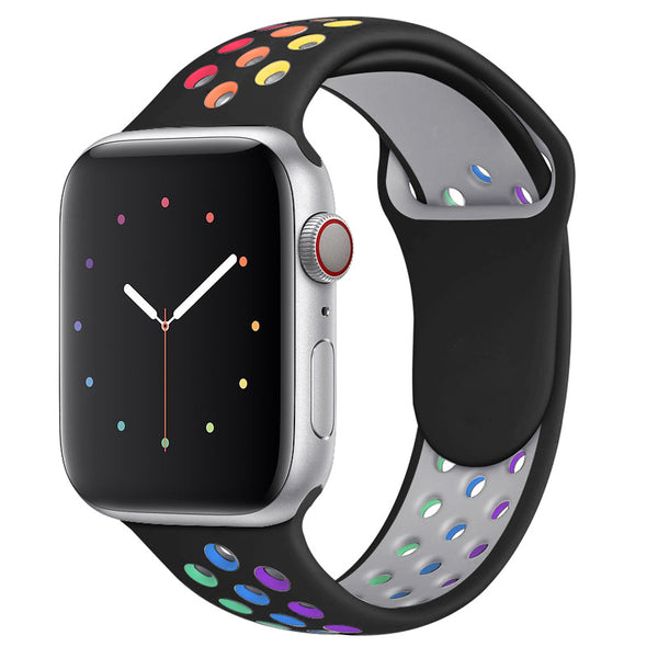 Rainbow Black Apple Watch Strap