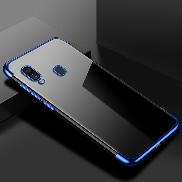 Blue Trim Clear Case (Galaxy A20)