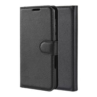 Black Leather Wallet Case (Galaxy A20)