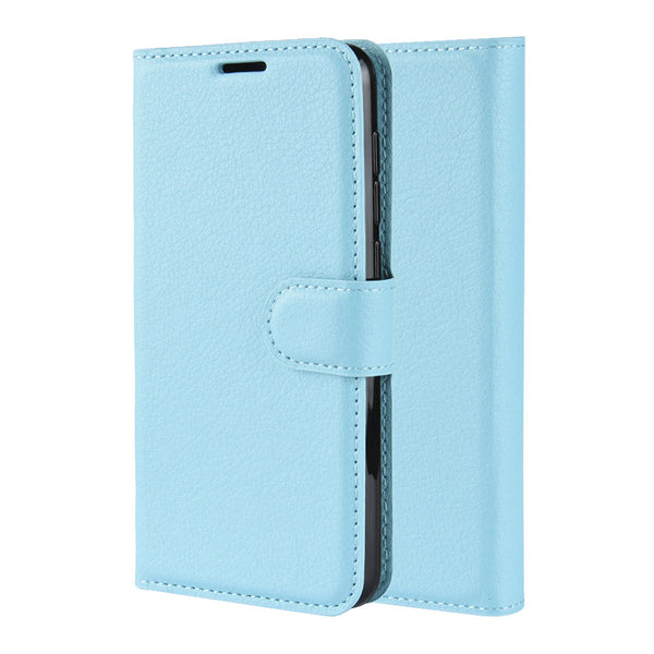 Light Blue Leather Wallet Case (Galaxy A20)