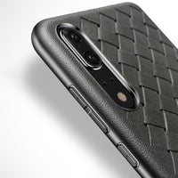 Black Leather Weave Case (Huawei P20)