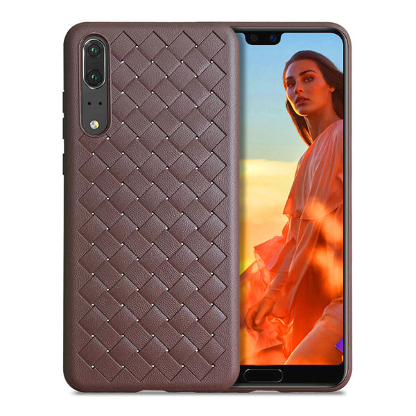 Brown Leather Weave Case (Huawei P20)