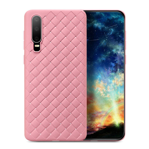 Pink Leather Weave Case (Huawei P30)