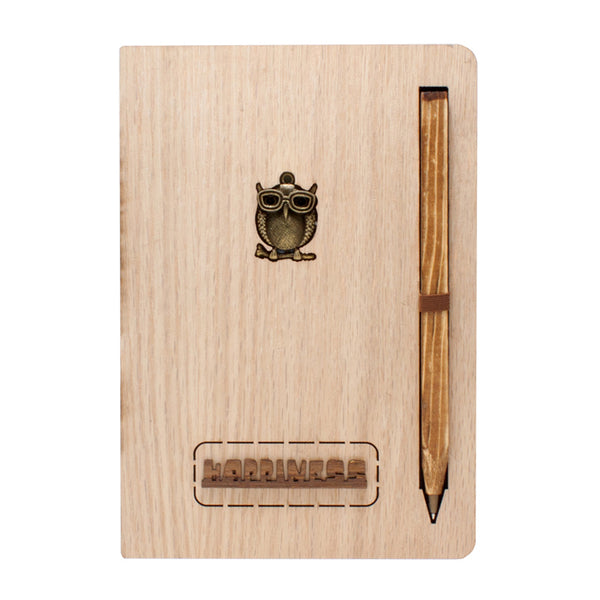 Happiness Wooden Cover Notebook