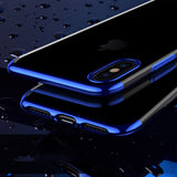 Blue Trim Clear Case (iPhone Xs Max)