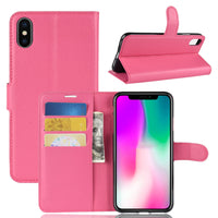 Fuchsia Leather Wallet Case (iPhone Xs Max)