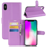 Purple Leather Wallet Case (iPhone Xs Max)