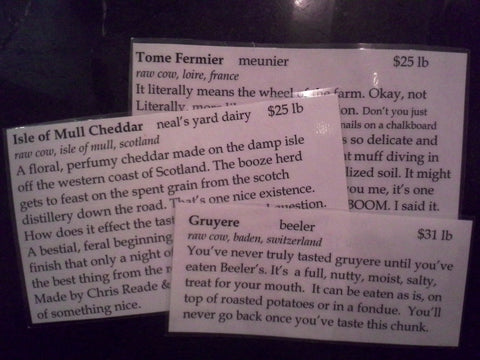 Cards you will find describing the cheeses found in BCS.