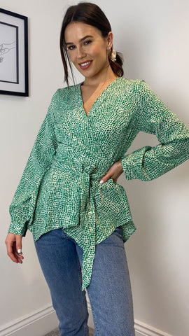 Poppy Wrap Neck Green Top