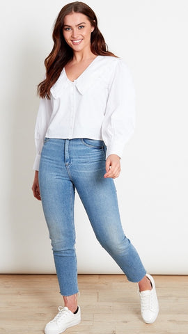 Cleo White Cotton Collar Shirt