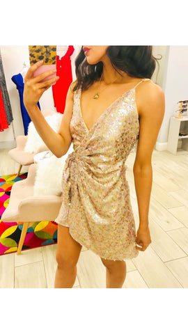 Jovonna Janika Pink Sequin Mini Dress
