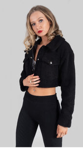 Izzy Cropped Black Borg Teddy Jacket Black