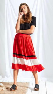 Neon Rose Red Stripe Midi Skirt