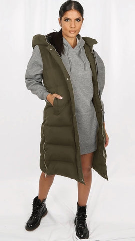 Padded Longline Gilet with Hood - Khaki (Pre-Order)
