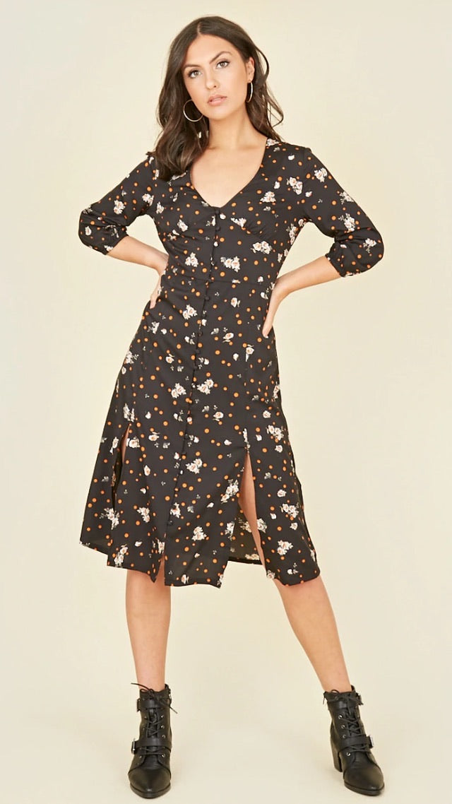 Black Polka Dot Split Leg Midi Dress