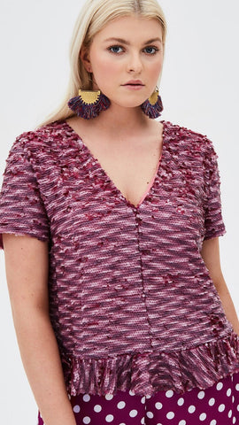 Elvi Pink Sequin Top