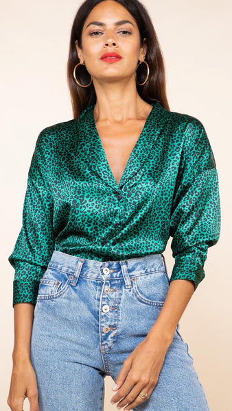 Dancing Leopard Monte Carlo Small Green Leopard Shirt