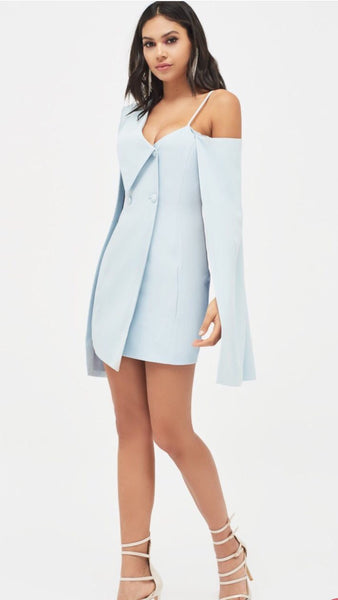 Lavish Alice One Shoulder Cape Blazer Dress in Dusty Blue