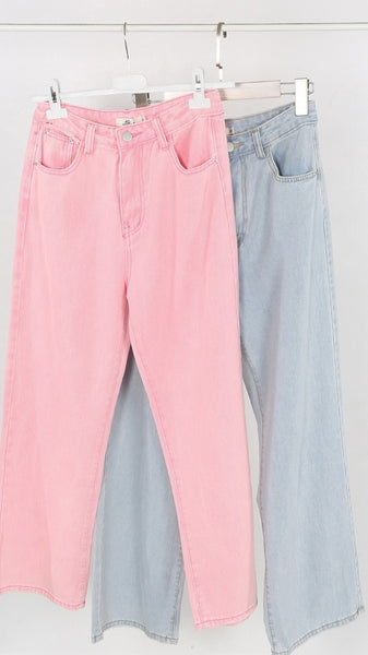 JJ Pink Wide Leg Cropped Mom Jeans