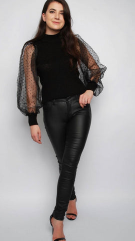 Organza Black Mini Polka Dot Sleeves Knitted Jumper