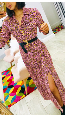 Glamorous Pink Leopard Midi Shirt Dress