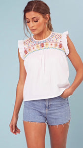 Wednesday's Girl White Cotton Embroidered Bib Detail Smock Top
