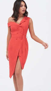 3ebcd9b52b98 Lavish Alice One Shoulder Tailored Wrap Dress With Button Detail in Red