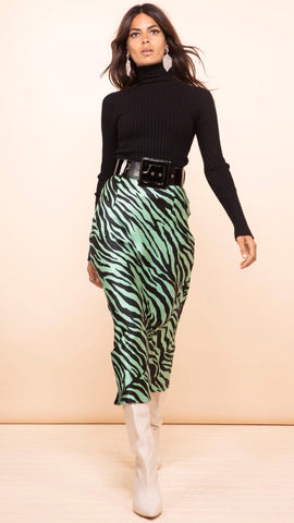 Dancing Leopard Renzo Skirt In Green Zebra (Pre-Order)