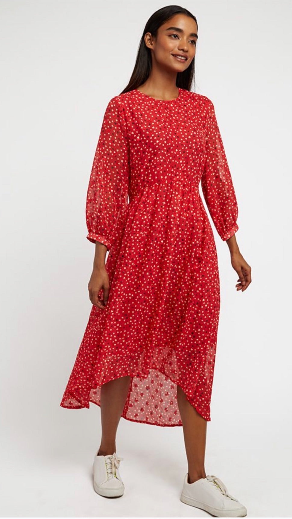 Louche Veronique Red Cupid Heart Midi Dress