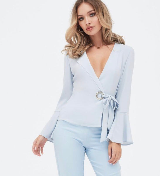Lavish Alice Baby Blue Fluted Sleeves Wrap Top