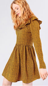 Glamorous Mustard High Neck Leopard Skater Dress
