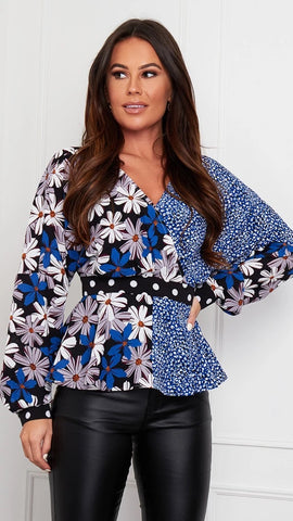 Brooklyn Long Sleeve Wrap Top Blue