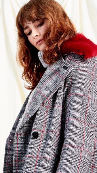 Heritage Check Oversized Maxi Coat With Detachable Collar