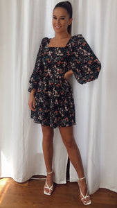 Charlotte Square Neck Puff Sleeve Black Floral Dress